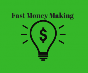fast money making text and bulb