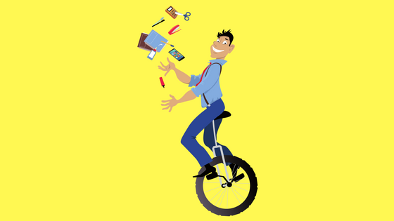 Man Juggling on Bike