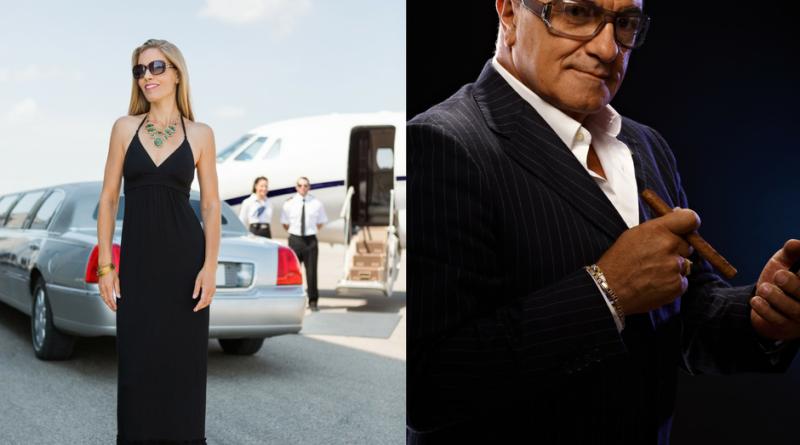 millionaires-lady w/limo & man w/cigar