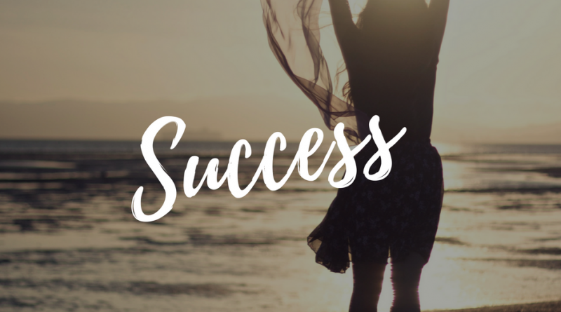 Success-lady on beach