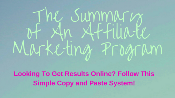 Text-The Summary of an affiliate marketing program
